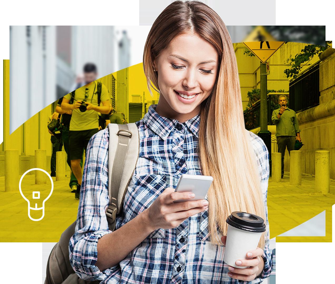 Frau mit Mobiltelefon, Gelbes Hintergrund
