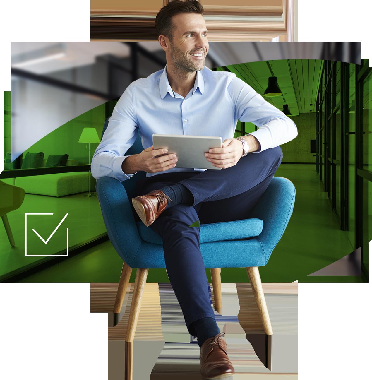 Mann mit Tablet, Grüner Hintergrund