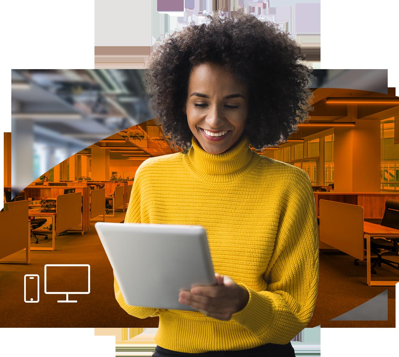 Frau mit Tablet, Orangener Hintergrund