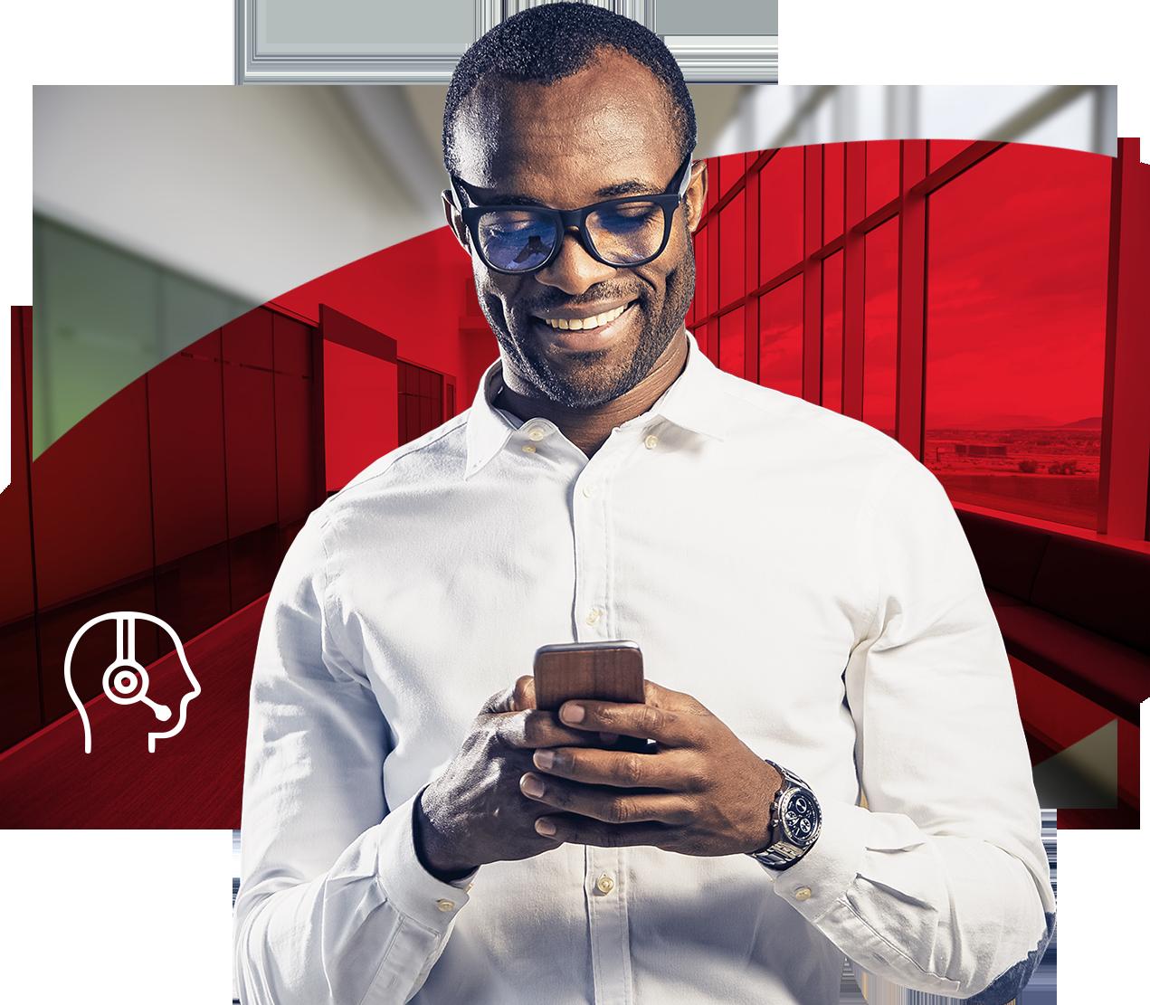 Mann mit Mobiltelefon, Roter Hintergrund