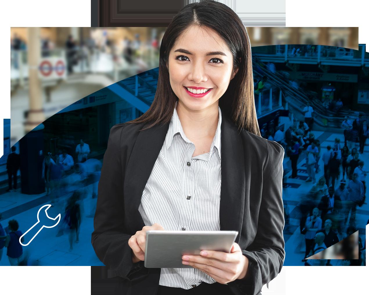 Frau mit Tablet, Blauer Hintergrund