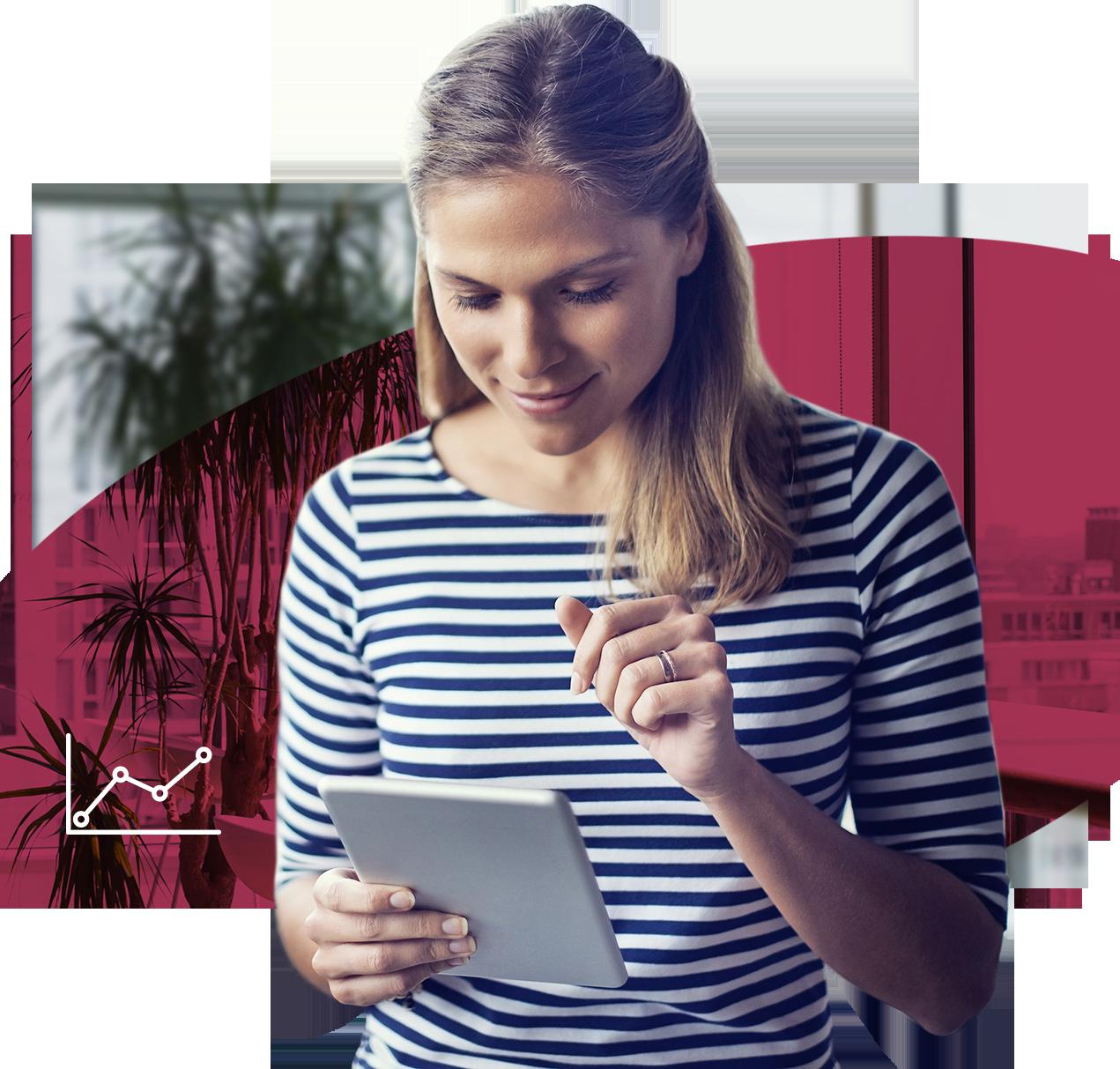 Frau mit Tablet, Rosaner Hintergrund